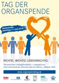 Plakat Tag der Organspende 2018 in Saarbrücken