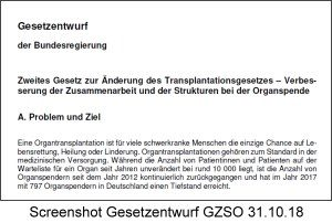 Entwurf Zweites Gesetz zur Änderung des Transplantationsgesetzes – Verbesserung der Zusammenarbeit und der Strukturen bei der Organspende (GZSO) vom 31.10.18