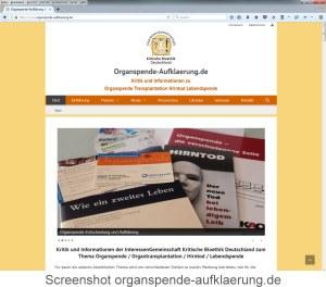 Screenshot neue Seite Organspende-aufklaerung.de